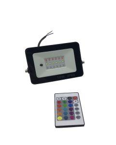 Led RGB Bouwlamp / Floodlight 10Watt inclusief afstandsbediening IP 66 waterdicht
